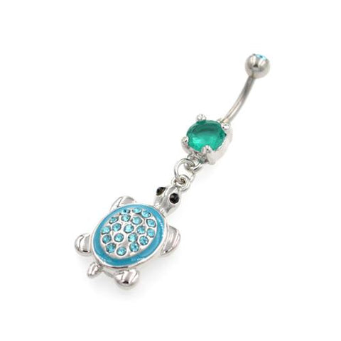 Aqua Tortoise Dangling Belly Button Rings - TSZjewelry