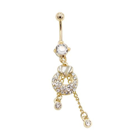 Gold Clear CZ Heart Circle Belly Button Rings - TSZjewelry