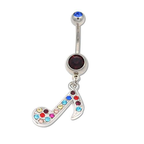 Rainbow Gem Musical Note Dangling Belly Rings - TSZjewelry