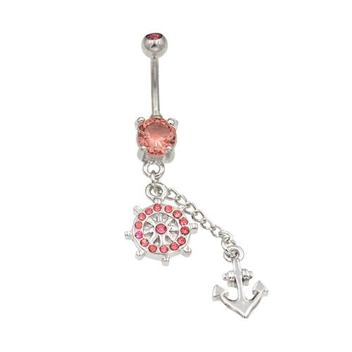 Pink Gem Ship Wheel Anchor Belly Button Rings - TSZjewelry