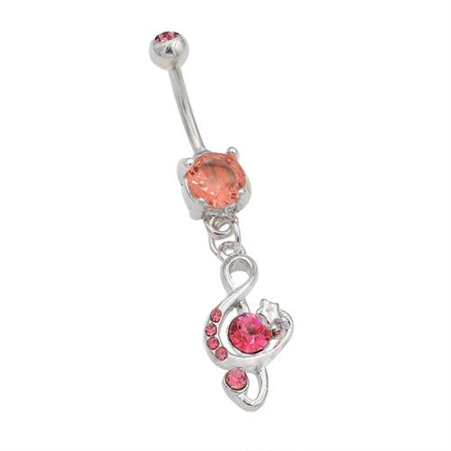 Pink CZ Musical Note Dangling Belly Rings - TSZjewelry