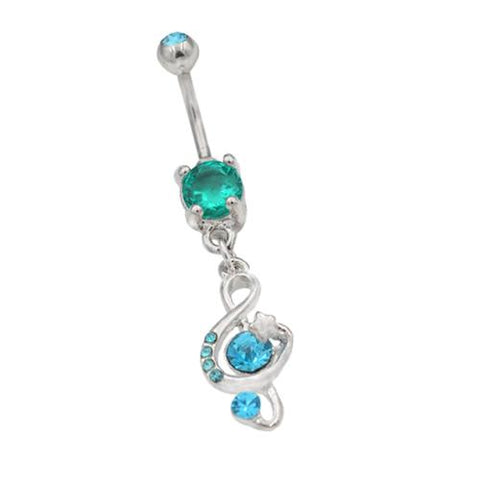 Aqua CZ Musical Note Dangling Belly Rings - TSZjewelry