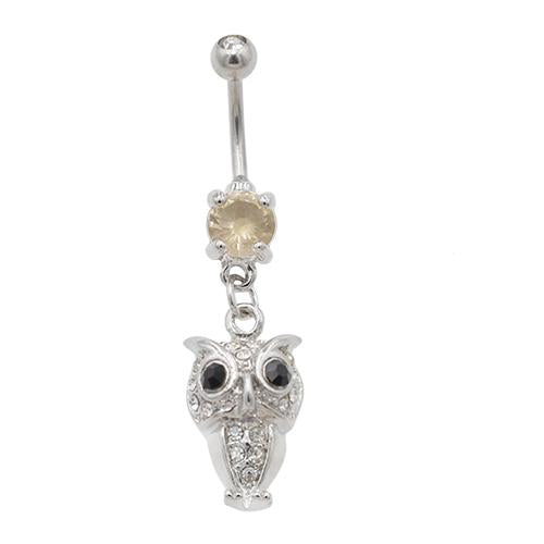 Clear Gem Owl Dangling Belly Button Rings - TSZjewelry