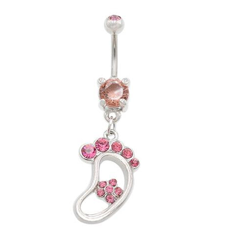 Pink Gem Big Foot Dangling Belly Button Rings - TSZjewelry