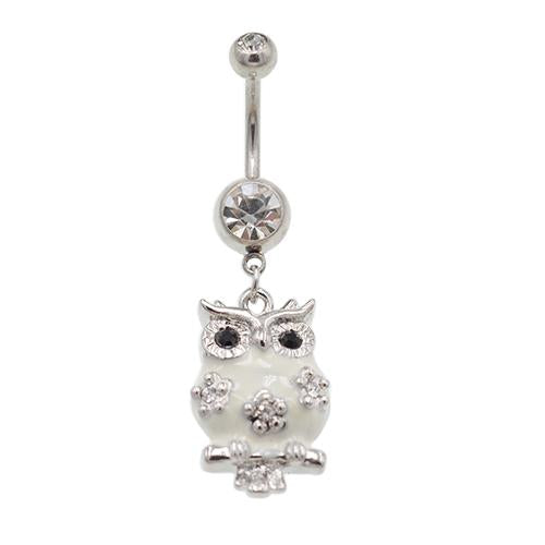 White Dangling Owl Belly Button Rings - TSZjewelry