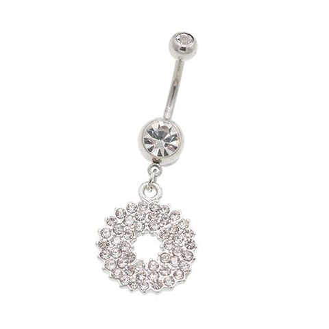 Clear Gem Paved Circle Dangling Belly Button Rings
