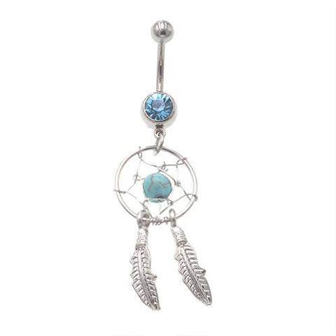 Aqua Dream Catcher Dangling Belly Button Rings - TSZjewelry