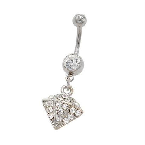 Clear Gem Dimond Shape Dangling Belly Rings - TSZjewelry
