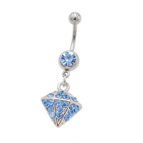 Blue Gem Dimond Shape Dangling Belly Rings - TSZjewelry