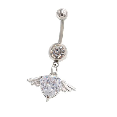 Clear CZ Gem Angel Wings Dangling Belly Rings - TSZjewelry