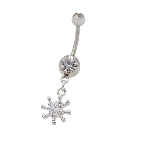 Crystaline Snowflake Dangling Belly Button Rings - TSZjewelry