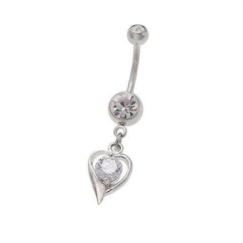 Dangling Shiny Heart Belly Button Rings - TSZjewelry