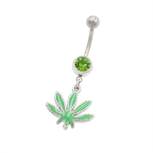 Green Marijuana Dangling Belly Button Rings - TSZjewelry