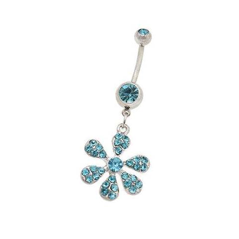 Aqua Gem Lily Flower Dangling Belly Button Rings - TSZjewelry