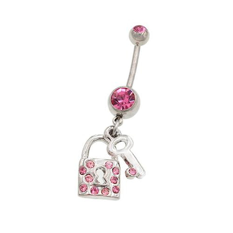 Pink Gem Key & Lock Dangling Belly Button Rings