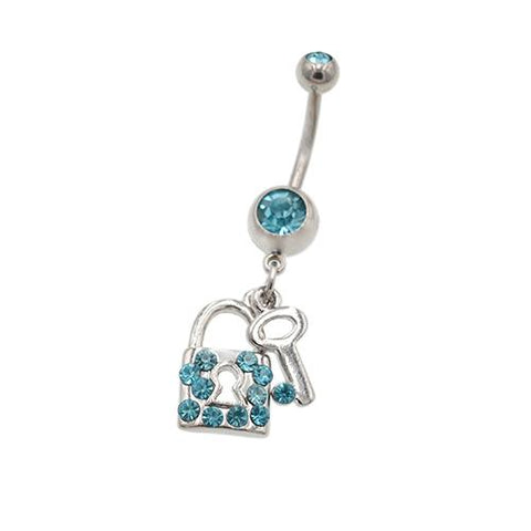 Aqua Gem Key & Lock Dangling Belly Button Rings - TSZjewelry