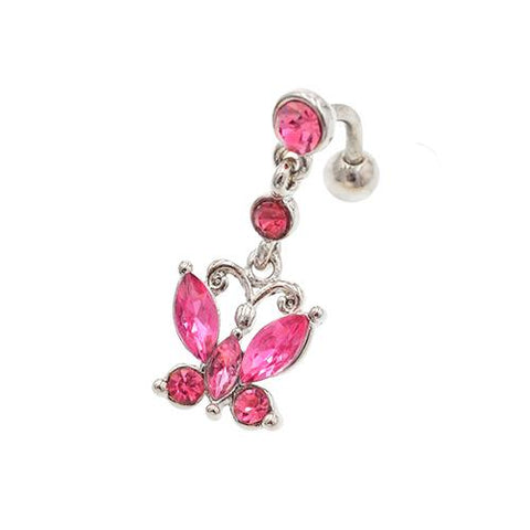 Pink Gem Butterfly Top Down Belly Button Rings