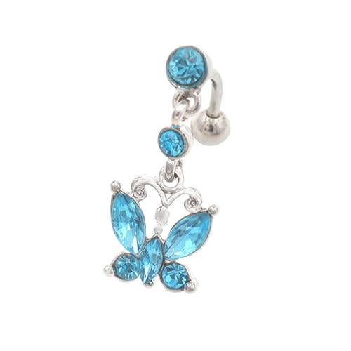 Aqua Gem Butterfly Top Down Belly Button Rings - TSZjewelry