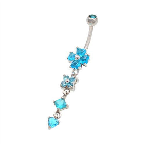 Aqua Gem Clover Drop Dangling Belly Button Rings - TSZjewelry