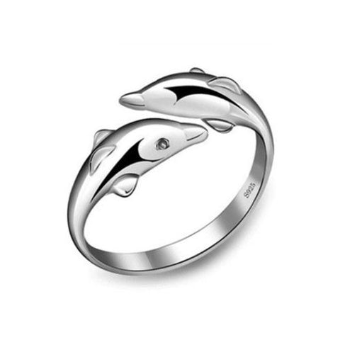 Dual Dolphin Copper Platinum Plated Open Band Ring - TSZjewelry