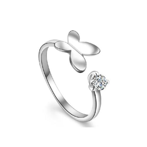 Butterfly and Heart Copper Platinum Plated Open Ring - TSZjewelry