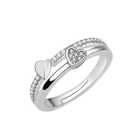 Dual Heart Double Layer Copper Platinum Plated Band Ring - TSZjewelry