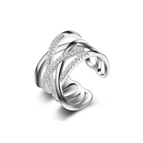 Dual Crossover Platinum Plated Copper Open Band ring - TSZjewelry