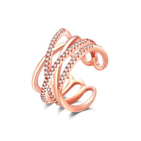 Dual Crossover Rose Gold Plated Copper Open Band ring - TSZjewelry