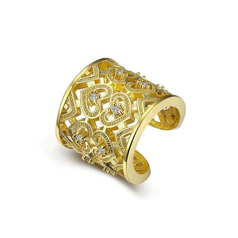 Gold Plated Hollow Heart Pattern Open Band ring - TSZjewelry