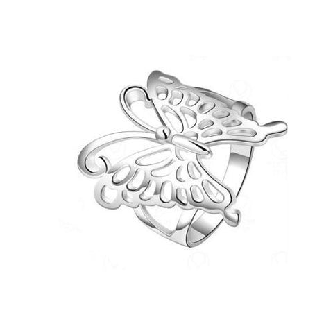 Butterfly Hollow-out Platinum Plated Copper Band Ring - TSZjewelry