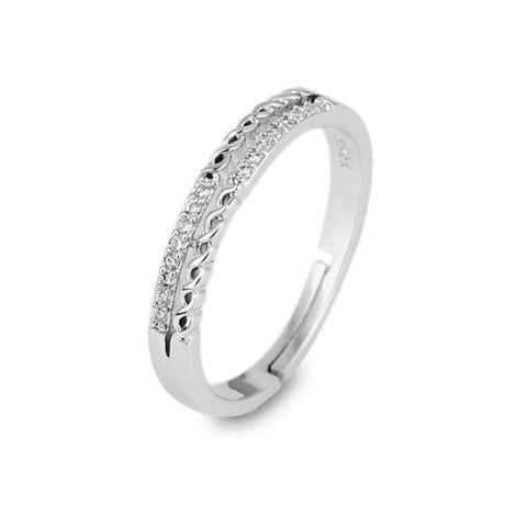Double Row Wave Platinum Plated Copper Open Band Ring - TSZjewelry
