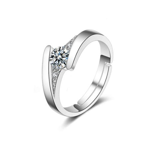 Clear CZ Platinum Plated Promise Open Band ring - TSZjewelry