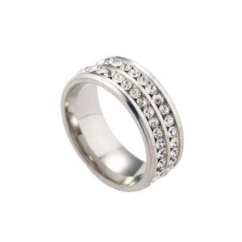 Double Row Stainless Steel Eternity CZ Band Ring For Men - TSZjewelry