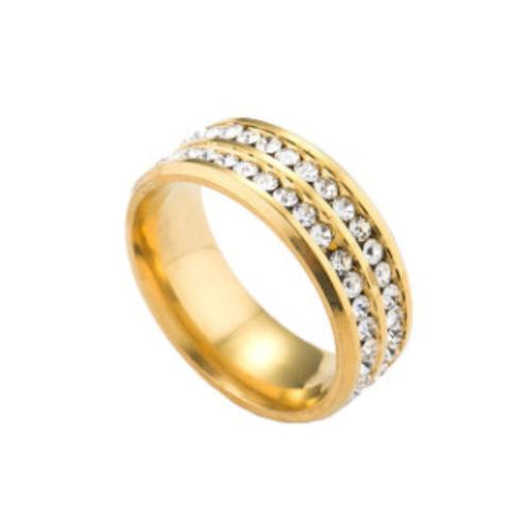 Double Row Stainless Steel Eternity CZ Gold Tone Band ring - TSZjewelry