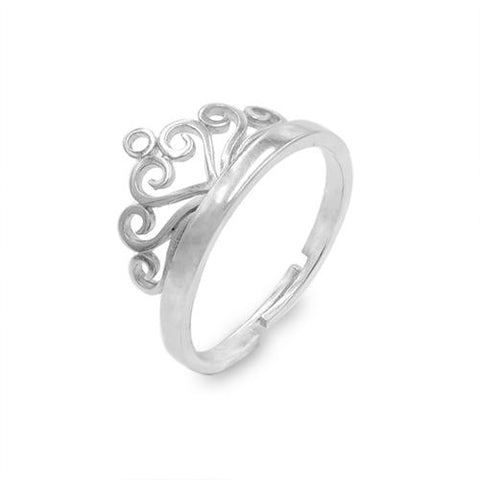Crown Platinum Plated Copper Open Band Ring - TSZjewelry