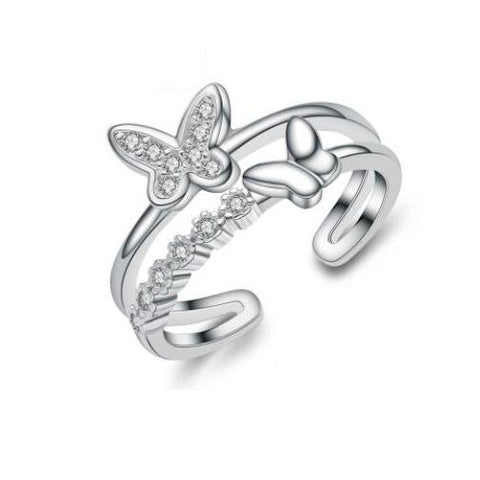 Double Row Butterfly Band Ring - TSZjewelry