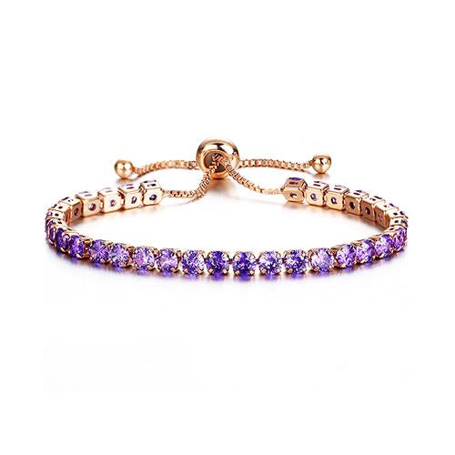Puple Crystal Tennis Gold Bracelet - TSZjewelry