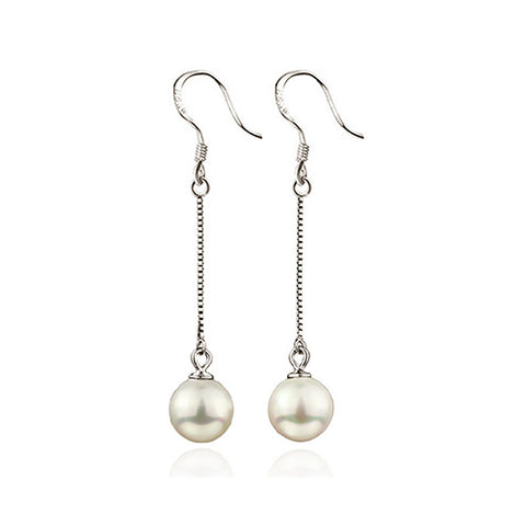 Long Dangling Pearl Earrings