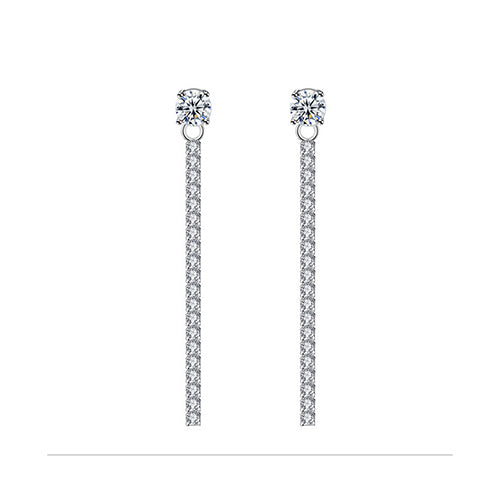 White Crystal Elements Bar Post Earrings