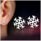 Glossy Snowflake Silver Stud Earrings For Girls