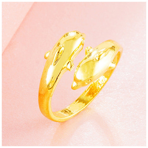 Double Golden Dolphin Adjustable Ring - TSZjewelry