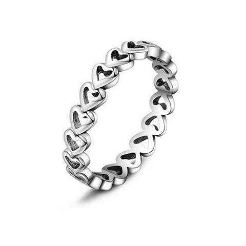 Hollow-out Stackable Heart Eternity Ring - TSZjewelry