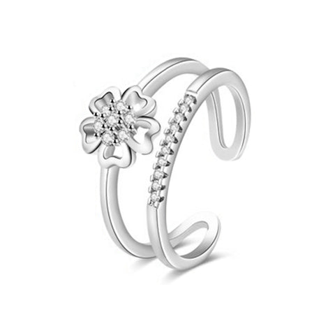 Flower On Double Layer Fashion Ring - TSZjewelry