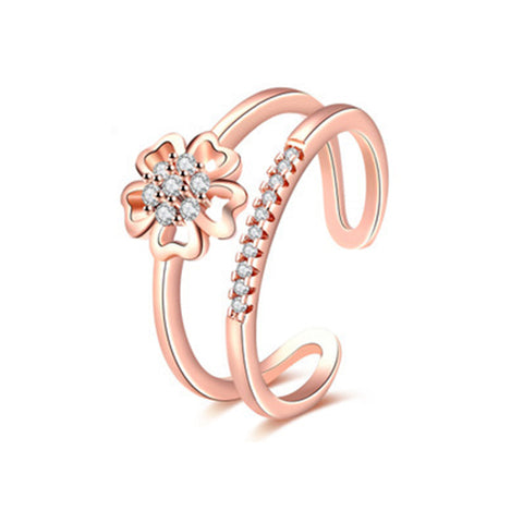 Flower On Double Layer Rose Gold Fashion Ring - TSZjewelry