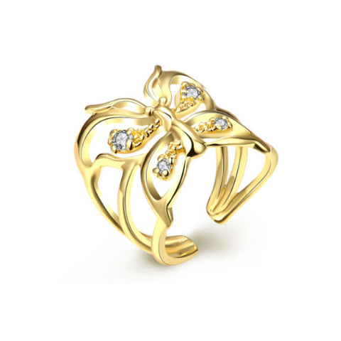 Gold Hollow Butterfly Fashion Ring - TSZjewelry