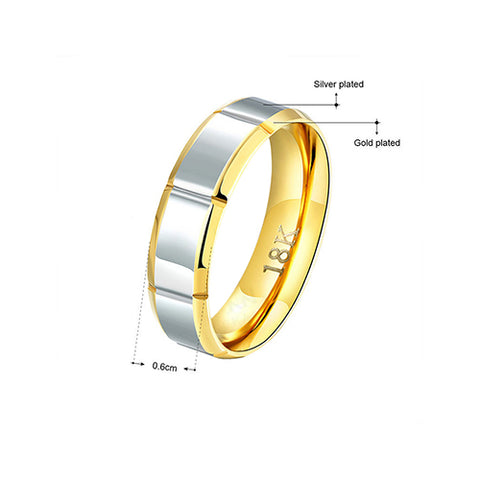 Goldplated Stainless Steel Two-tone Men's Band Ring - TSZjewelry
