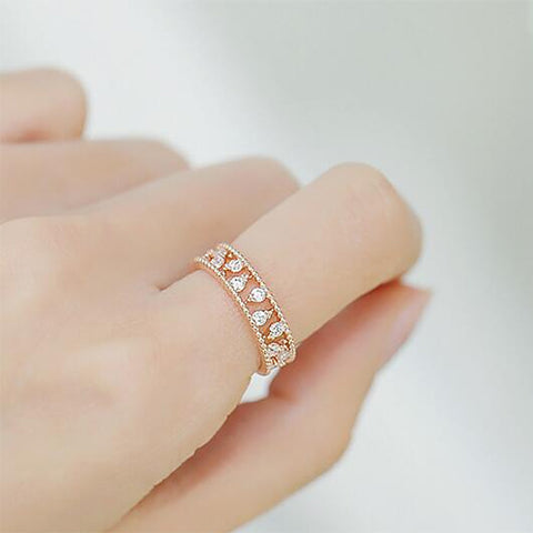 Double Rope Eternity Rose Gold Fashion Ring - TSZjewelry