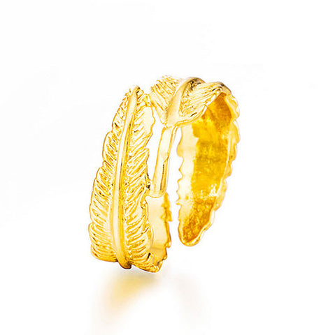 Gold Feather Ring - TSZjewelry