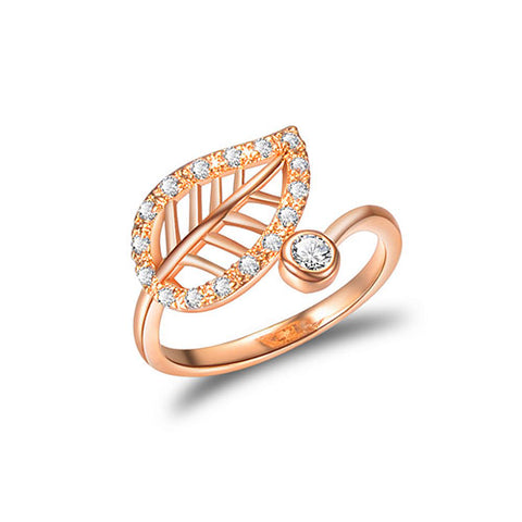 Cubic Zirconia  Paved Leaf Rim Rose Gold Ring - TSZjewelry