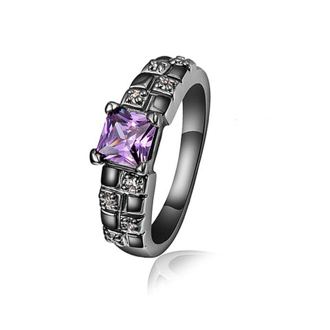 Amethyst with Black Rhodium Plated Ring - TSZjewelry